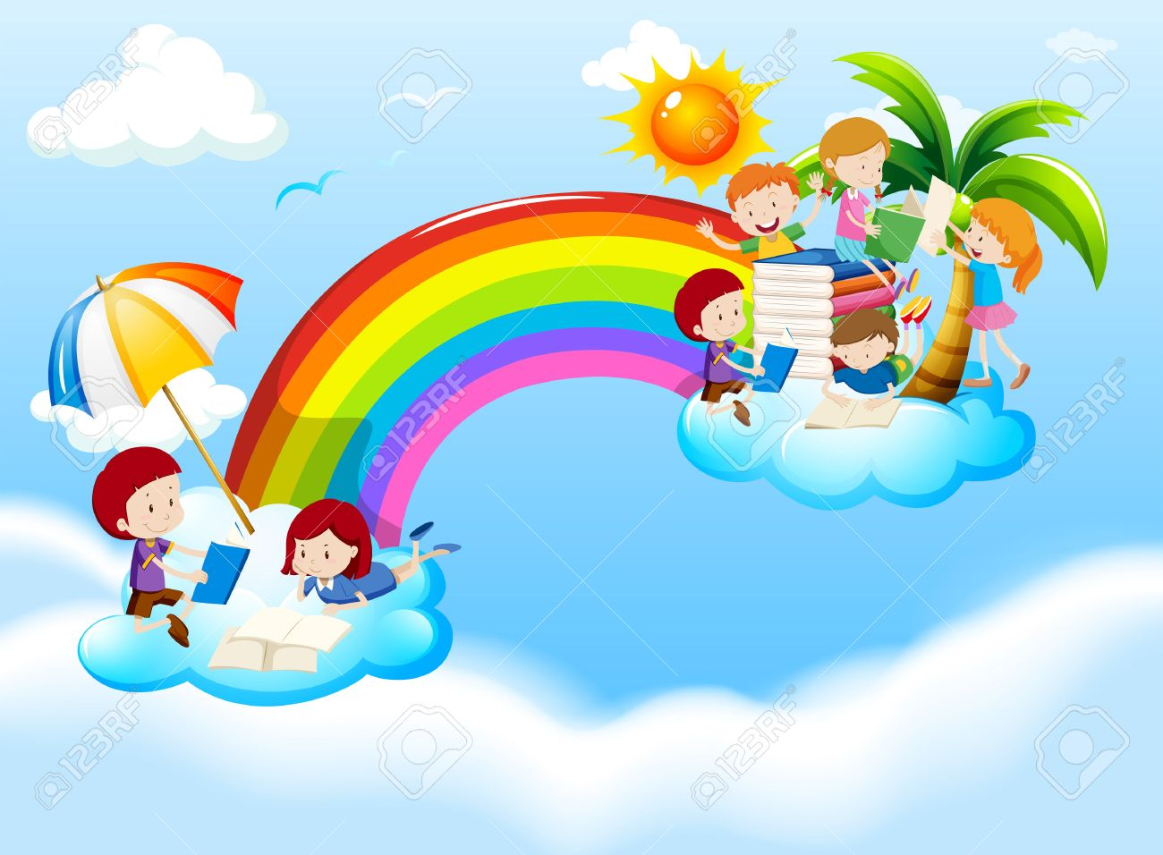 52039101-children-reading-books-over-the-rainbow-illustration-Stock-Photo